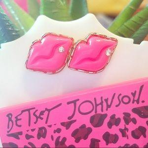 BJ Marilyn Cotton Candy Pink Lips Earring Set BNWT